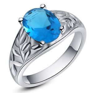 Other - NEW Men's Sky Blue Opal CZ Silver Ring .925 Plated